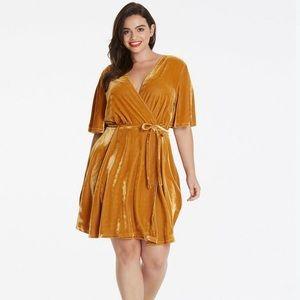 Gold velvet wrap dress, worn once